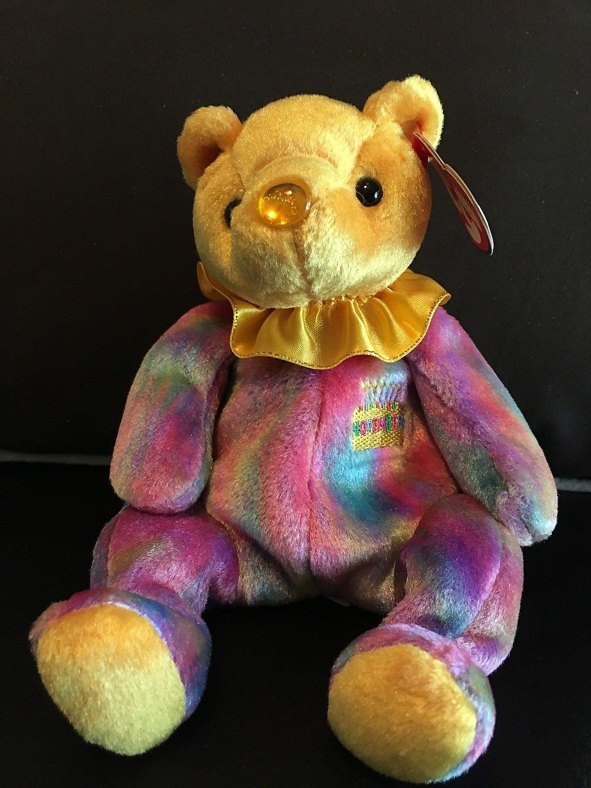 34a366adb0f TY BEANIE BABY NOVEMBER BIRTHDAY BEAR CLOWN COLLAR MINT   MINT TAGS RETIRED  NEW