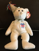 TY BEANIE BABY APRIL THE BIRTHDAY BEAR W/HAT MINT WITH MINT TAGS RETIRED... - $8.75