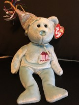 TY BEANIE BABY MARCH THE BIRTHDAY BEAR W/HAT MINT WITH MINT TAGS RETIRED... - $8.75