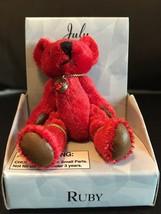 "RUSS MINI BEAR JULY BIRTHDAY RUBY PENDANT BEARS OF THE MONTH 3"" RED NIB - $7.80"