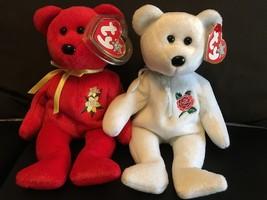 TY ROSE & DAFFODIL BEARS SET OF (2)  BEANIE BABIES NWT - $17.37