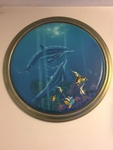 "Original Oil Painting Dolphins Tropical Fish & Sea Life Kenneth Aunchman 30""X30"" - $6,795.00"