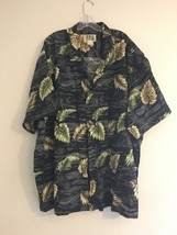 Vintage Ky's Hawaiian Shirt Black & Grey Palm Leaves Men's 6XL - $48.95