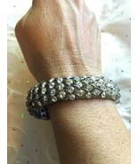 HSN JUSTINE SIMMONS SILVERTONE BANGLE BRACLET NEW IN BOX - $16.99