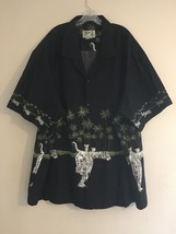 Vintage Ky's Hawaiian Shirt Black Palm Trees & White Tigers Men's 6XL - $48.95