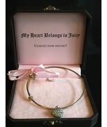 Juicy Couture Pave Puffed Heart Wish Bangle Charm Bracelet - $59.95
