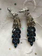 Swarovski designer Ben Amun blue crystal deco chandlier earrings  - $249.95