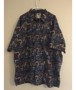 VINTAGE 80'S AVI COLLECTION KAHALA HAWAIIAN SHIRT BLUE FISH PALM TREES M... - $43.39