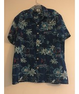 VINTAGE KENNINGTON HAWAIIAN ALOHA SHIRT BLUE BOATS HIBISCUS PALM TREES M... - $35.65