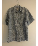 VINTAGE COOKE STREET HAWAIIAN SHIRT GREY SAIL BOATS HIBISCUS PALM LEAVES... - $24.14