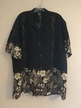 Vintage Royal Creations Black Hawaiian Hibiscus Palm Leaves Aloha Shirt ... - $38.95