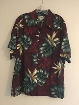 Vintage Kamehameha Hawaiian Aloha Shirt Burgundy Green Palm Leaves Men's... - $98.95
