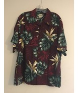 VINTAGE KAMEHAMEHA HAWAIIAN ALOHA SHIRT BURGANDY GREEN PALM LEAVES MENS L - $91.81