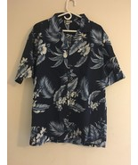 VINTAGE ALOHA REPUBLIC HAWAIIAN SHIRT BLUE & WHITE PALM LEAVES FLOWERS M... - $36.72