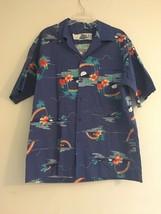 VINTAGE HILO HATTIE HAWAIIAN BLUE PALM TREES RAINBOWS MOON SHIRT MENS SI... - $56.93