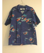 VINTAGE HILO HATTIE HAWAIIAN BLUE PALM TREES RAINBOWS MOON SHIRT MENS SI... - $56.93