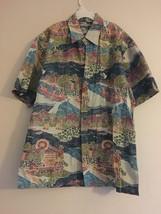 VINTAGE COOKE STREET REVERSE PRINT HAWAIIAN SHIRT SUN CANOES PALM TREES ... - $26.94