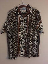 Vintage RJC Hawaiian Barkcloth Camp Shirt Hibiscus Leaf & Pattern Motif ... - $59.95