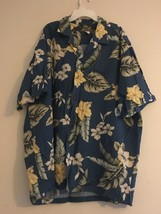 VINTAGE TWO PALMS HAWAIIAN SHIRT BLUE YELLOW HIBISCUS GREEN PALM LEAVES ... - $30.81