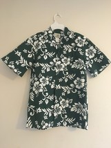Vintage Ho Aloha Hawaiian Camp Shirt Dark Green & White Hibiscus Flowers... - $32.95
