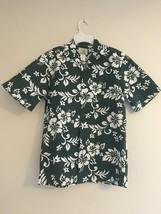 VINTAGE HO ALOHA HAWAIIAN CAMP SHIRT DARK GREEN & WHITE HIBISCUS FLOWERS... - $26.07