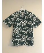 VINTAGE HO ALOHA HAWAIIAN CAMP SHIRT DARK GREEN & WHITE HIBISCUS FLOWERS... - $26.07