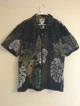 Vintage Paradise Style Hawaiian Shirt Brown Multi Colored Leaves & Ferns... - $29.95