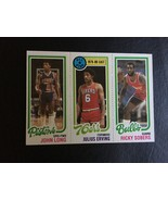 1980-81 TOPPS #88 JOHN LONG #1 JULIUS ERVING #49 RICKY SOBERS RC ROOKIE ... - $12.55