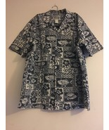 VINTAGE KY'S HAWAIIAN ALOHA SHIRT CHARCOAL CREAM FISH HIBISCUS MENS XL - $31.88
