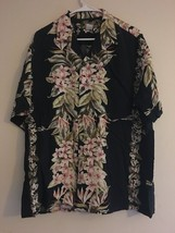 Vintage Two Palms Hawaiian Shirt Black Pink Plumeria Green Greenleaves M... - $36.95