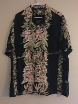 VINTAGE TWO PALMS HAWAIIAN SHIRT BLACK PINK PLUMERIA GREEN GREENLEAVES M... - $30.81