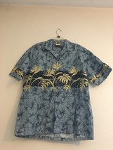 VINTAGE WINNIE FASHION HAWAIIAN ALOHA CAMP SHIRT BLUE BEIGE LEAVES MENS 2XL - $31.88