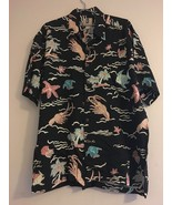 VINTAGE KAHALA HAWAIIAN ALOHA BLACK W/ MULTICOLORED SEA LIFE CAMP SHIRT ... - $62.84