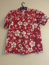Vintage RJC LTD Hawaiian Aloha Camp Shirt Red White Hibiscus Men's L - $44.95