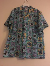 Vintage Meet Me in Maui Hawaiian Shirt Aqua Purple Yellow Palm Trees Men... - $34.95