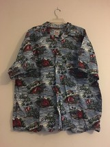 Vintage Urbaniak Hawaiian Shirt Blue Red Green Islands Palm Trees Men's XXL - $36.00
