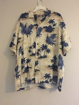 VINTAGE KALAHEO HAWAIIAN ALOHA CAMP SHIRT BLUE PINAPPLE PALM TREE CREAM ... - $38.65