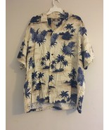 VINTAGE KALAHEO HAWAIIAN ALOHA CAMP SHIRT BLUE PINAPPLE PALM TREE CREAM ... - $38.65
