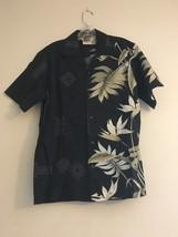 Vintage Winnie fashion Hawaiian Aloha Shirt Black Green Leaves Flowers M... - $34.95