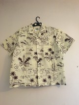 Vintage Ky's Hawaiian Aloha Shirt Cream Brown Palm Leaves Islands map Me... - $32.95