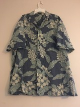 VINTAGE ROYAL CREATIONS HAWAIIAN BLUE WHITE HIBISCUS LEAVES ALOHA SHIRT ... - $37.68
