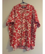 VINTAGE HILO HATTIE HAWAIIAN ALOHA CAMP SHIRT RED WHITE HIBISCUS MENS SI... - $43.39