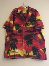 VINTAGE ROYAL CREATIONS HAWAIIAN SUNSET & PALMS RED YELLOW BLACK SHIRT M... - $38.55