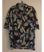 VINTAGE KAHALA HAWAIIAN ALOHA BLACK SHIRT SURFBOARDS BLUE HIBISCUS MENS L - $38.65