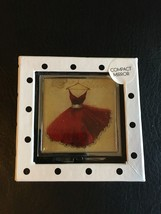 MAISON ROUGE DECOR RED GLAMOUR DRESS PURSE SLIM STAINLESS COMPACT MIRROR NIB - $11.60