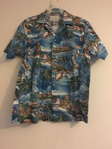 Vintage Kalaheo RJC Hawaiian Aloha Shirt Blue Waves Fish Boats Islands M... - $44.95