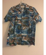 VINTAGE KALAHEO RJC HAWAIIAN ALOHA SHIRT BLUE WAVES FISH BOATS ISLANDS M... - $37.58