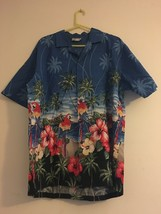 Vintage CT Hawaii Fashions Hawaiian Blue Shirt Hibiscus Parrots Palms Me... - $47.95