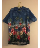 VINTAGE CT HAWAII FASHIONS HAWAIIAN BLUE SHIRT HIBISCUS PARROTS PALMS ME... - $41.45