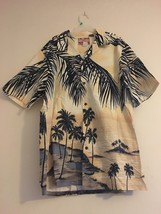 Vintage RJC Hawaiian Aloha Camp Shirt Cream Black Palm Trees Islands Men... - $52.95